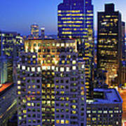 Sunset Over Boston - Financial District Skyline Poster