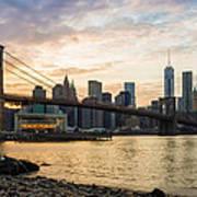 Sunset Over Brooklyn Bridge Poster