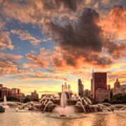 Sunset Over Buckingham Fountain Poster