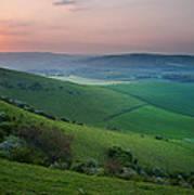 Sunset Over English Countryside Escarpment Landscape Poster