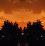 Sunset Over Jackson Michigan Mirror Image Poster