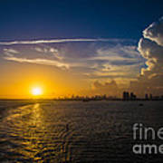 Sunset Over Miami From Out At Sea Poster