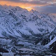 Sunset Over Mueller Glacier Lake Poster