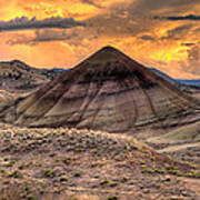 Sunset Over Painted Hills In Oregon Poster