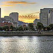 Sunset Over Portland Downtown Skyline Poster
