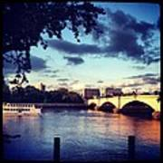 Sunset Over Putney Bridge Poster by Maeve O Connell