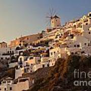 Sunset Over Santorini Village Poster