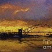 Sunset Over Sydney Harbour A Turneresque View Poster