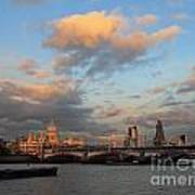 Sunset Over The River Thames London Poster