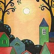 Sunset Over Town Poster