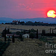 Sunset Over Tuscany In Italy Poster