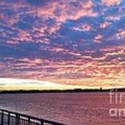 Sunset Over Verrazano Bridge And Narrows Waterway Poster
