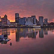 Sunset Over Willamette River Along Portland Waterfront Poster