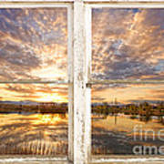 Sunset Reflections Golden Ponds 2 White Farm House Rustic Window Poster