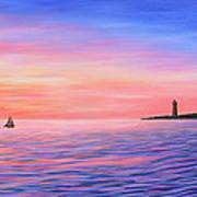 Sailing Toward The Lighthouse Poster
