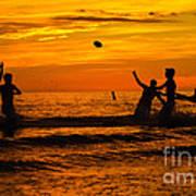 Sunset Water Football Poster