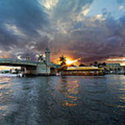 Sunset Waterway Panorama Poster