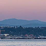 Super Moon And Sailing Panorama Poster