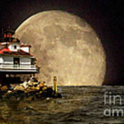 Super Moon Lighthouse Poster
