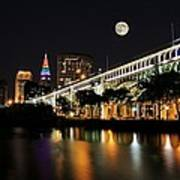 Super Moon Over Cleveland Poster