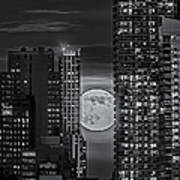 Super Moon Rises Over The Big Apple Bw Poster by Susan Candelario