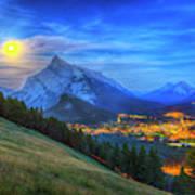Super Moonrise Over Banff Poster