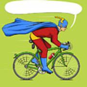 Superhero On A Bicycle Cartoon Pop Art Poster