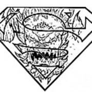 Superman And Doomsday Pen And Ink Poster
