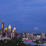 Supermoon Moonrise Over Seattle Skyline Poster