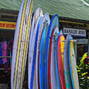 Surfboards At Hanalei Surf Poster