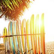 Surfboards At Ocean Beach Poster
