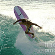 Surfer Cutting Back Poster