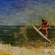Surfer In Oil Poster