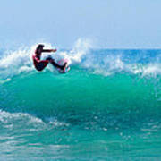 Surfer Making Turn Poster