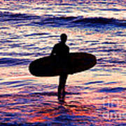Surfer Silhouette Poster