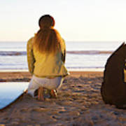 Surfer Woman And Dog On Beach Poster