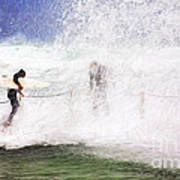 Surfers at rockpool Poster