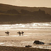 Surfers On Beach 02 Poster by Pixel Chimp