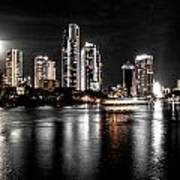 Surfers Paradise Night Reflections Poster