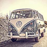 Surfer's Vintage Vw Samba Bus At The Beach Poster