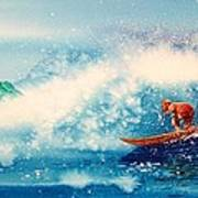 Surfing At Hawaii Poster by John YATO
