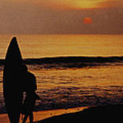 Surfing At Sunset Poster by Anonymous