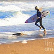 Surfing girl Poster