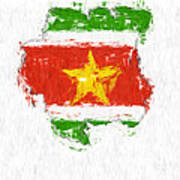 Suriname Painted Flag Map Poster