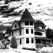 Surreal Black White Mackinac Island Michigan Infrared Victorian Home Poster