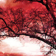 Surreal Fantasy Gothic Red Tree Landscape Poster
