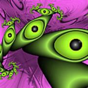 Surreal Green Eyes Fractal Poster