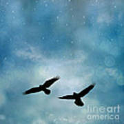 Surreal Ravens Crows Flying Blue Sky Stars Poster
