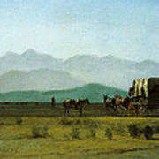 Surveyors Wagon In The Rockies Poster