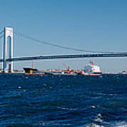Suspension Bridge Over A Bay Poster